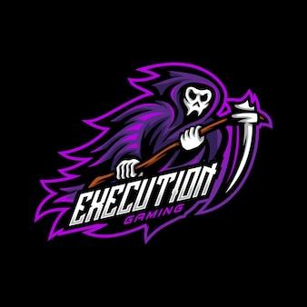 Jogo esportivo do logotipo do mascote reaper