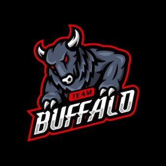 Jogo esportivo do logotipo mascote buffalo