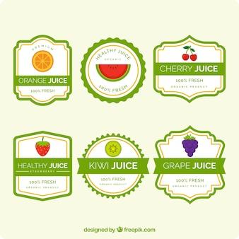 Jogo, fruta, suco, etiquetas, verde, elementos