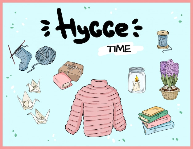 Jogo grande de doodles bonitos da etiqueta de hygge.