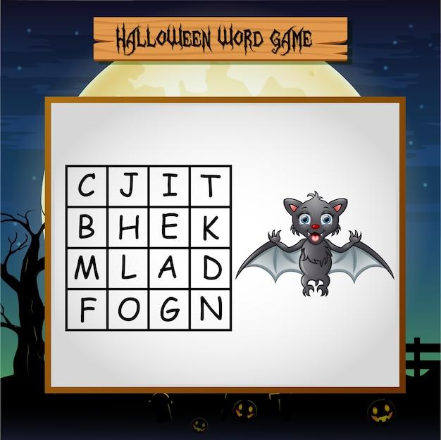 Jogo halloween encontrar a palavra de morcego