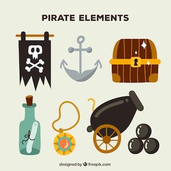 Jogo, hand-drawn, pirata, elementos