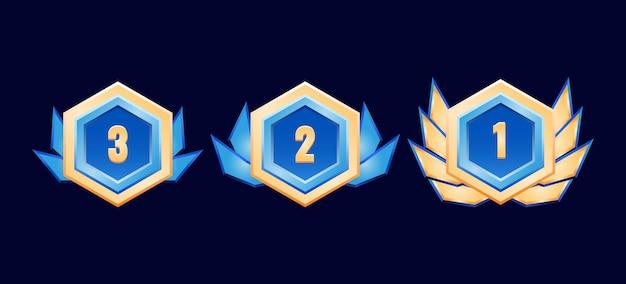 Jogo hexagonal ui medalhas de distintivos de diamantes dourados brilhantes com asas