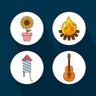 Jogo, ícones, para, festa, junina, celebração