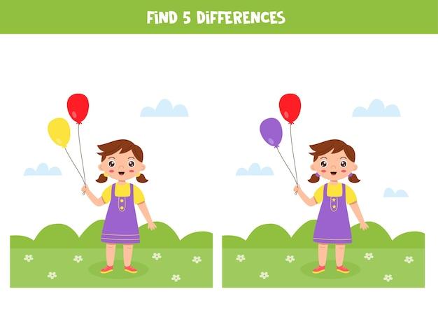 Jogo lógico educativo para crianças. encontre 5 diferenças. menina com balões.