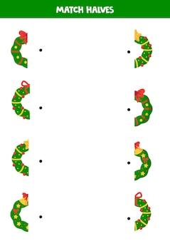 Jogo lógico para crianças combinar as metades das guirlandas de natal
