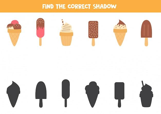 Jogo lógico para crianças. encontre a sombra certa de sorvete.