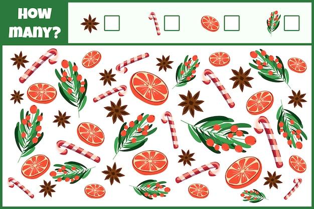 Jogo matemático educacional. conte o número de decorações de natal.