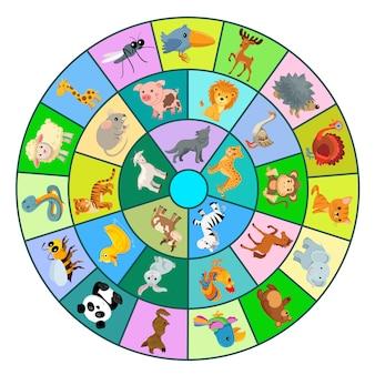 Jogo n círculo com animais.