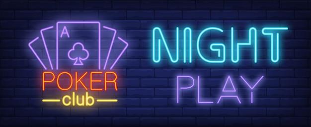 Jogo nocturno, sinal de néon de clube de pôquer