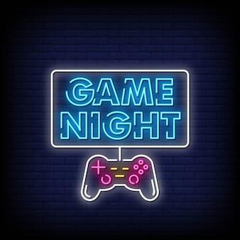 Jogo noite sinais néon estilo texto