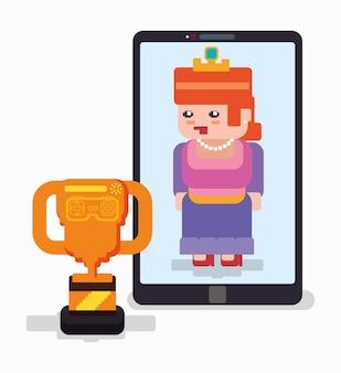 Jogo on-line de troféu de princesa de smartphone