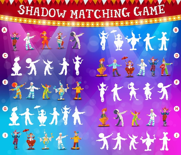 Jogo ou quebra-cabeça de correspondência de sombras de palhaços de circo