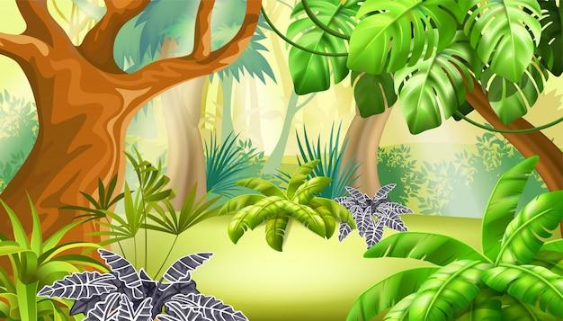 Jogo paisagem com cena de selva tropical.
