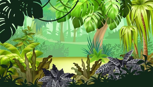 Jogo paisagem com plantas tropicais.