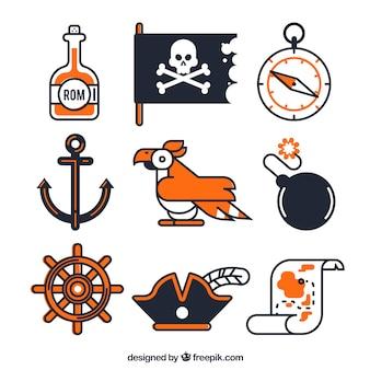 Jogo, papagaio, linear, pirata, elementos