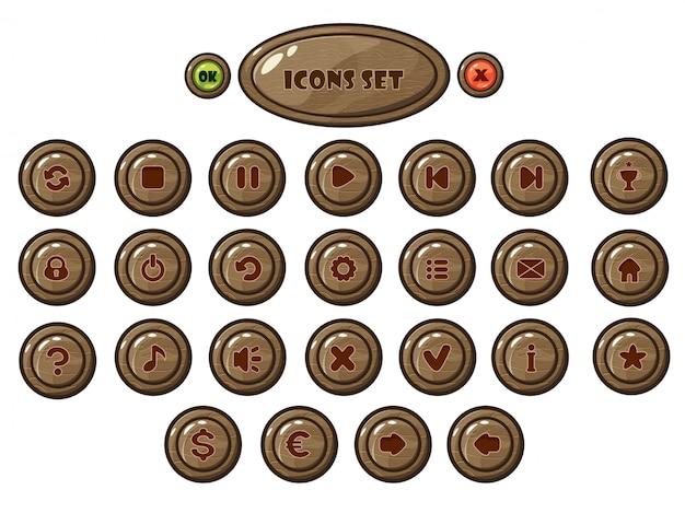 Jogo para celular redondo conjunto de botões de madeira
