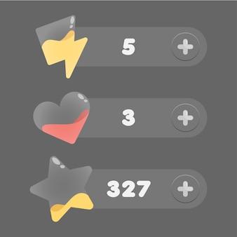 Jogo para celular ui gui game interface set