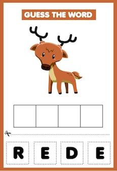 Jogo para crianças, adivinhe a palavra cervo