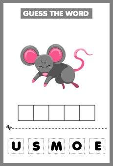 Jogo para crianças, adivinhe a palavra, mouse