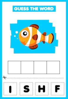 Jogo para crianças adivinhe os peixes da palavra