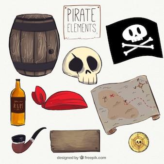 Jogo, pirata, mão, desenhado, elementos