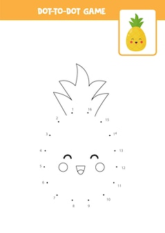 Jogo ponto a ponto com abacaxi kawaii bonito conecte os pontos jogo de matemática ponto e imagem colorida
