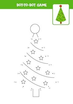 Jogo ponto a ponto com árvore de natal dos desenhos animados. ligue os pontos. jogo de matemática. ponto e imagem colorida.