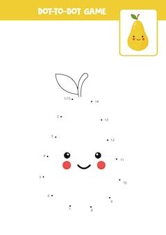 Jogo ponto a ponto com desenho de pêra kawaii conecte os pontos jogo de matemática ponto e imagem colorida