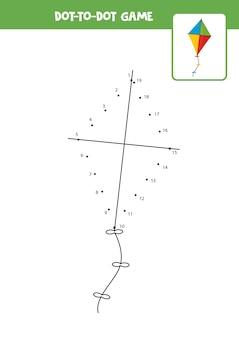 Jogo ponto a ponto com pipa. ligue os pontos. jogo de matemática. ponto e imagem colorida.