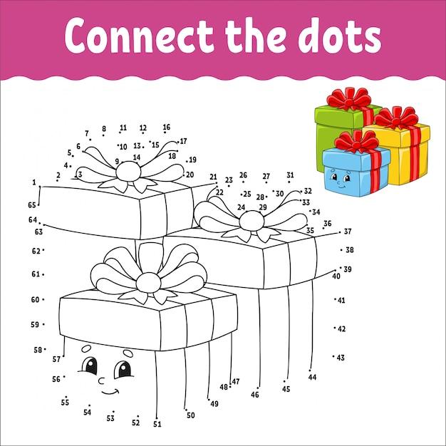 Jogo ponto a ponto. desenhe uma linha. caixas de férias com presentes decorados com fitas com laços.