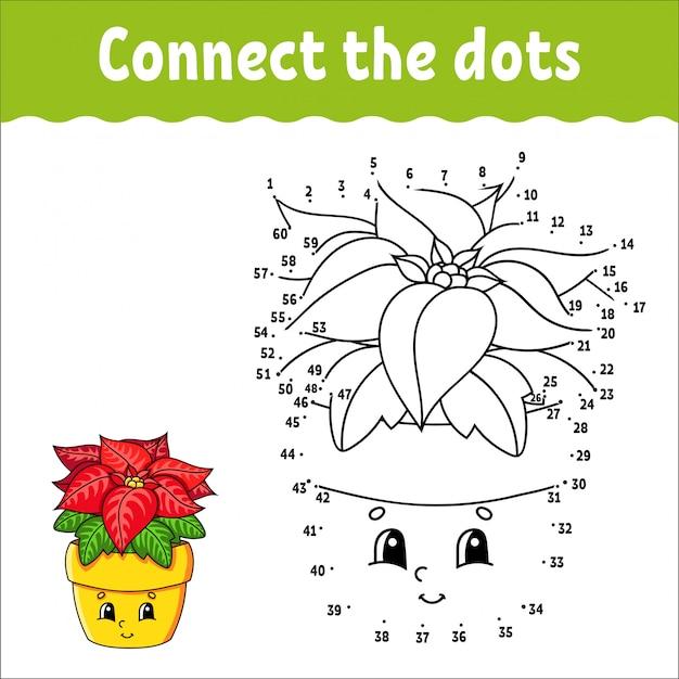 Jogo ponto a ponto. desenhe uma linha. flor de poinsétia em uma panela. para as crianças