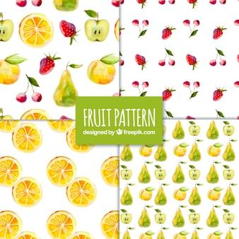Jogo, quatro, aguarela, fruta, padrões