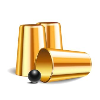Jogo shell. três dedais de ouro de metal brilhante e bola preta. espetáculo de circo de desempenho de equipamentos. conceito de sorte e fortuna. ilustração vetorial isolada no fundo branco.