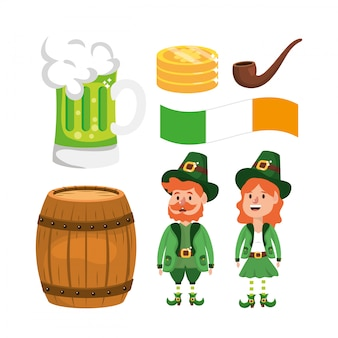Jogo, st, patrick, homem mulher, com, barril cerveja