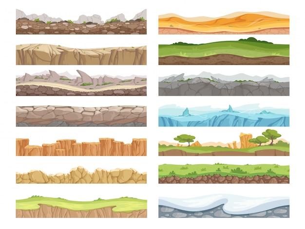 Jogo terreno sem costura. desenhos animados rocha sujeira paisagem pedra chão ativos piso fundo