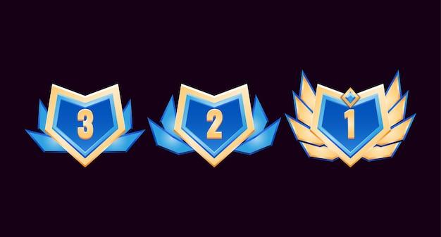 Jogo ui medalhas de distintivo de diamante dourado brilhante com asas Vetor Premium