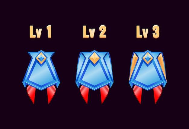 Jogo ui medalhas de distintivo de diamante dourado brilhante com nota