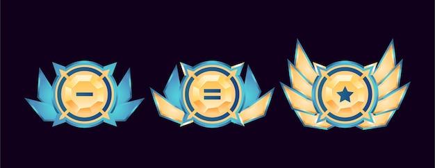 Jogo ui medalhas de distintivo de diamantes dourados arredondados brilhantes com asas