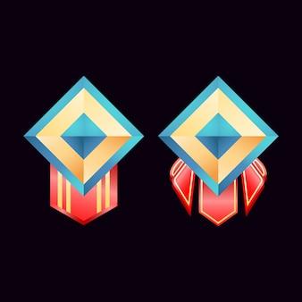 Jogo ui medalhas de distintivos de diamante dourado brilhante