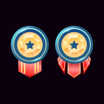 Jogo ui medalhas de distintivos de diamantes dourados brilhantes arredondados com estrela
