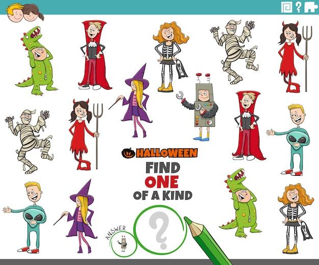 Jogo único para crianças com personagens de festa de halloween