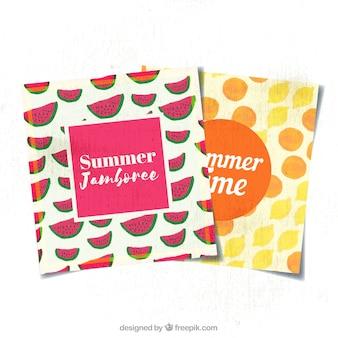 Jogo, verão, cartões, aquarela, frutas