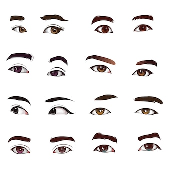 Jogo vetorial de olhos realistas