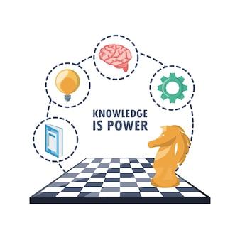 Jogo xadrez e conhecimento idéia ícones