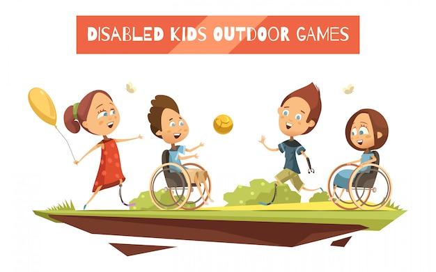 Jogos ao ar livre de crianças deficientes em cadeira de rodas