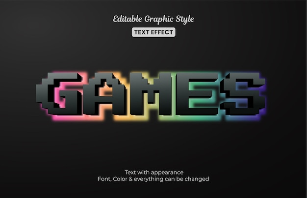 Jogos com luz fraca, efeito de texto editável