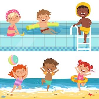 Jogos de água de verão no aquapark, crianças engraçadas de desenhos animados
