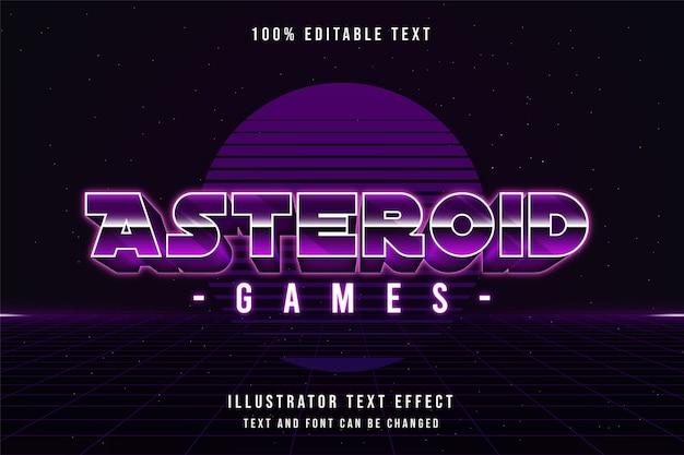 Jogos de asteróides, efeito de texto editável em 3d gradação roxa estilo de texto sombra neon dos anos 80