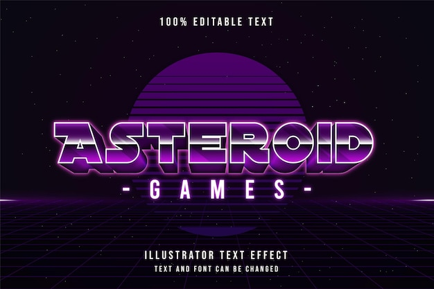Jogos de asteróides, estilo de texto editável com efeito de texto em gradação roxa e sombra neon